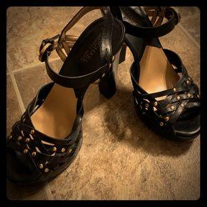 Michael Kors black & gold strappy heels